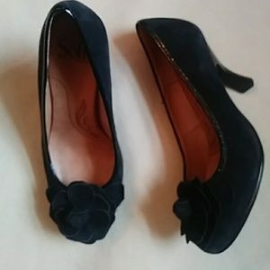 Sofft black leather suede heels-sz 6 1/2 W